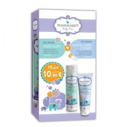 Pharmasept Baby Care Set: Tol Velvet Mild Bath Απαλό Παιδικό Αφρόλουτρο 300ml & Tol Velvet Extra Calm Cream 150ml