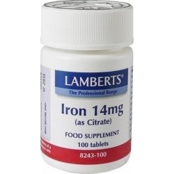 LAMBERTS - Iron14mg (as Citrate) - 100tabs